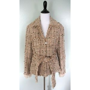 WORTH Beige Button Belted Woven Tapestry Coat